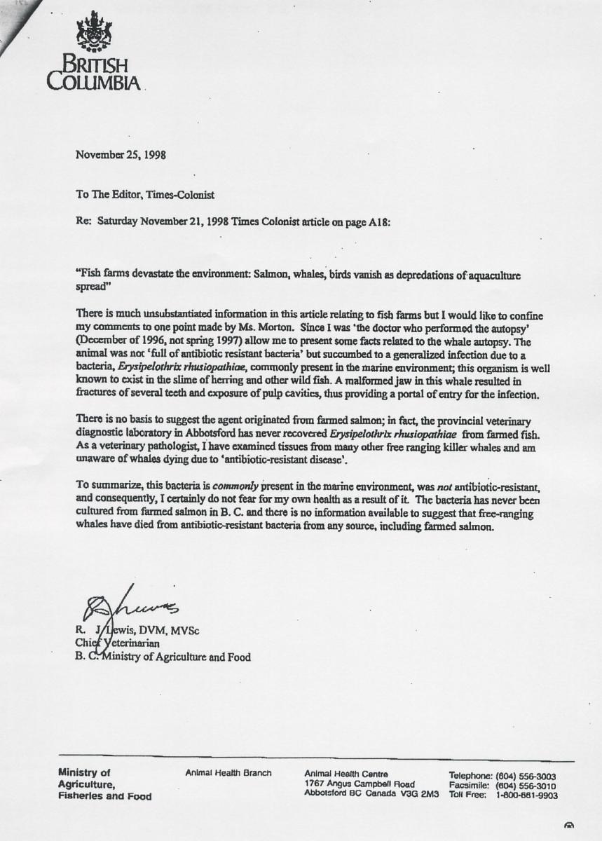 Letter: Alexandra Morton corrected